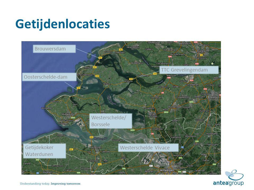 Getijdenlocaties Brouwersdam TTC Grevelingendam Oosterschelde-dam