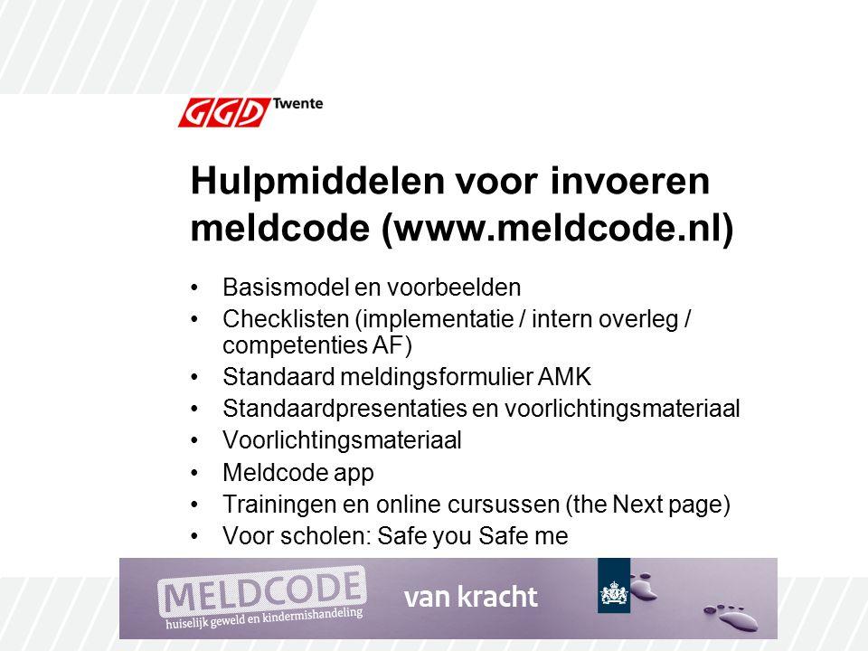 Hulpmiddelen voor invoeren meldcode (www.meldcode.nl)