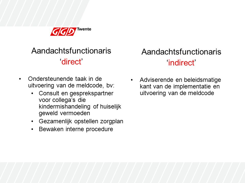 Aandachtsfunctionaris 'direct' Aandachtsfunctionaris 'indirect'