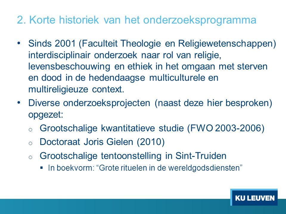 2. Korte historiek van het onderzoeksprogramma