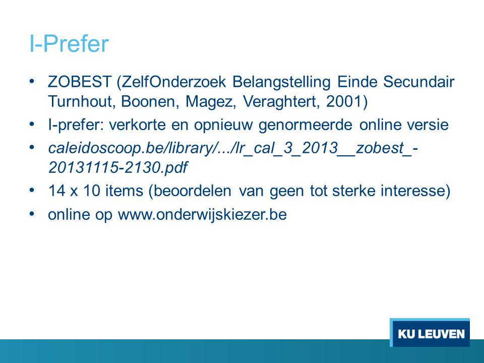I-Prefer ZOBEST (ZelfOnderzoek Belangstelling Einde Secundair Turnhout, Boonen, Magez, Veraghtert, 2001)