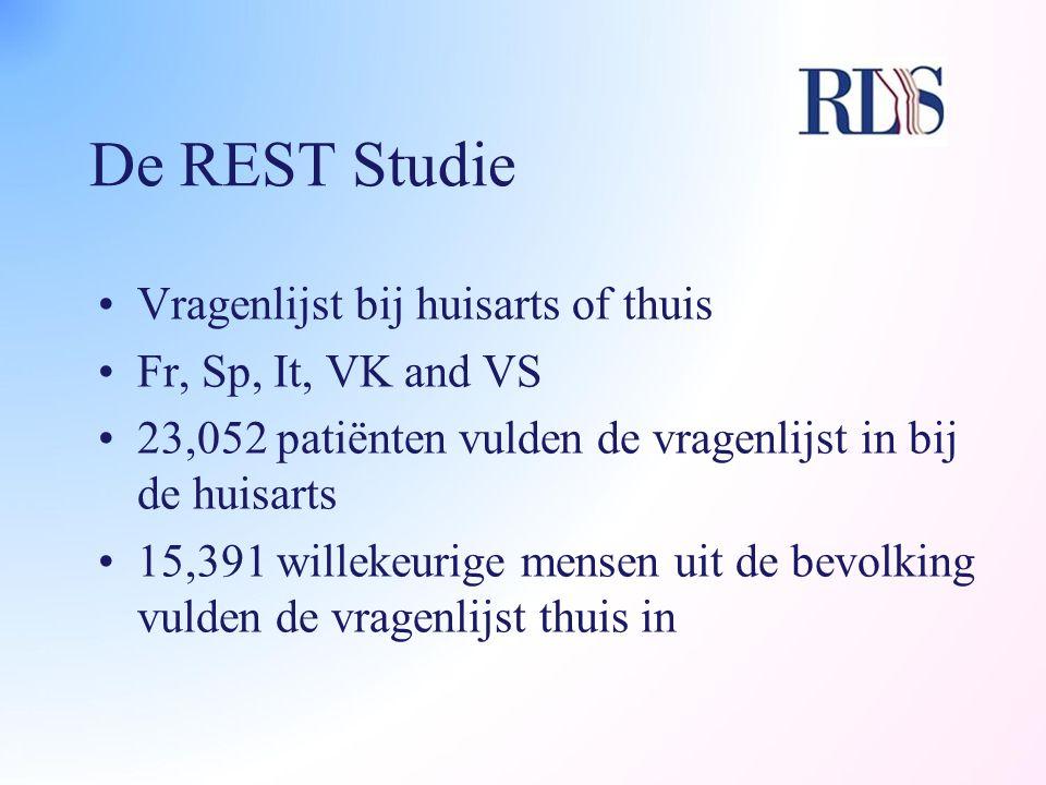 De REST Studie Vragenlijst bij huisarts of thuis Fr, Sp, It, VK and VS