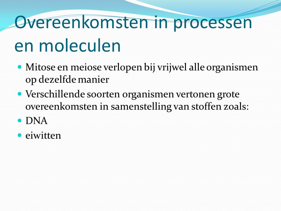 Overeenkomsten in processen en moleculen