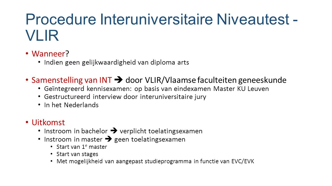 Procedure Interuniversitaire Niveautest - VLIR