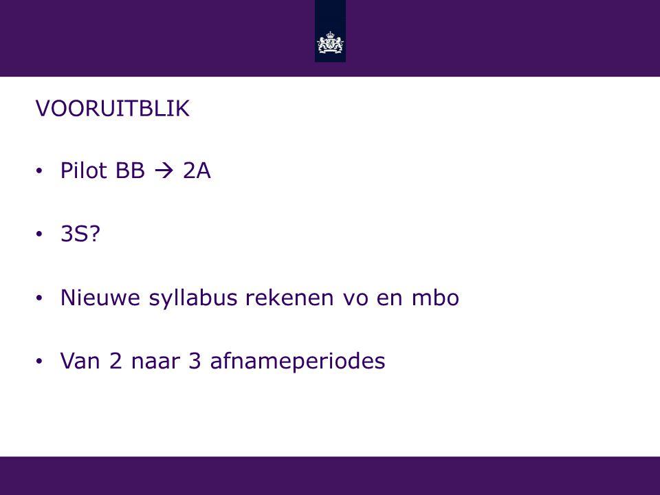 vooruitblik Pilot BB  2A 3S Nieuwe syllabus rekenen vo en mbo Van 2 naar 3 afnameperiodes