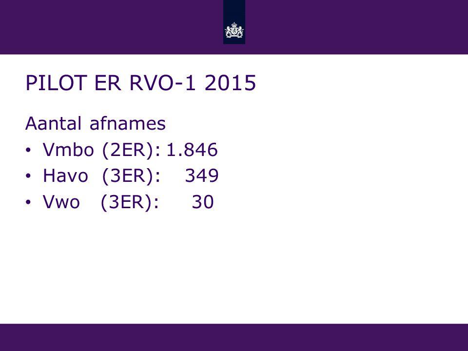 PILot ER rvo-1 2015 Aantal afnames Vmbo (2ER): 1.846 Havo (3ER): 349