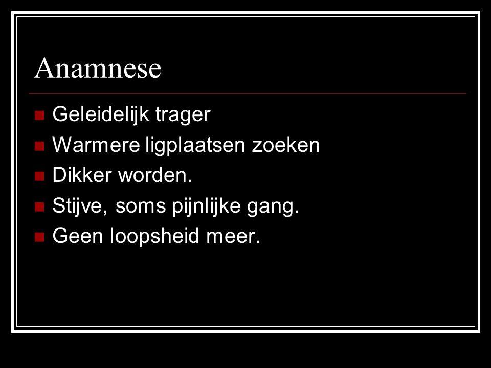Anamnese Geleidelijk trager Warmere ligplaatsen zoeken Dikker worden.