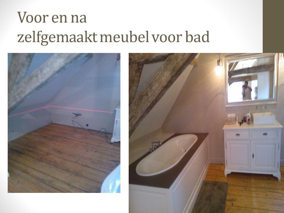 Voor en na zelfgemaakt meubel voor bad