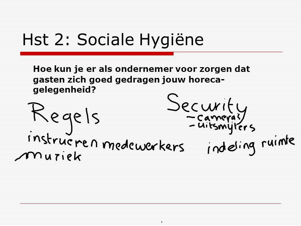 Hst 2: Sociale Hygiëne Hoe kun je er als ondernemer voor zorgen dat gasten zich goed gedragen jouw horeca- gelegenheid
