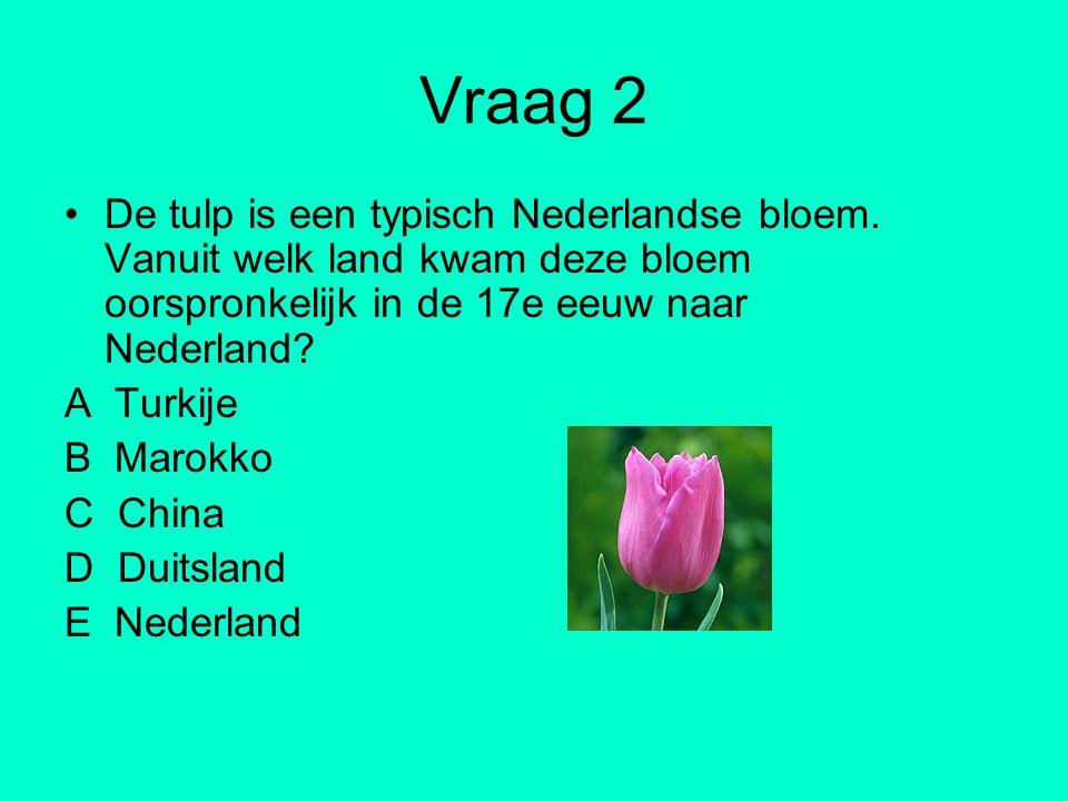 Vraag 2 De tulp is een typisch Nederlandse bloem. Vanuit welk land kwam deze bloem oorspronkelijk in de 17e eeuw naar Nederland