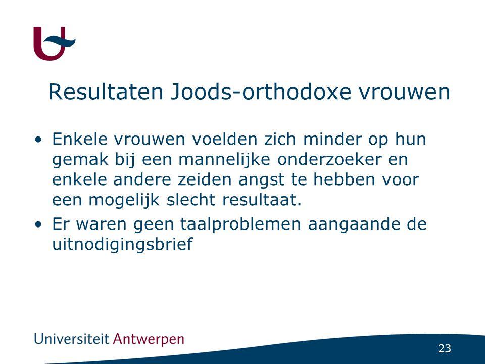 Resultaten Joods-orthodoxe vrouwen
