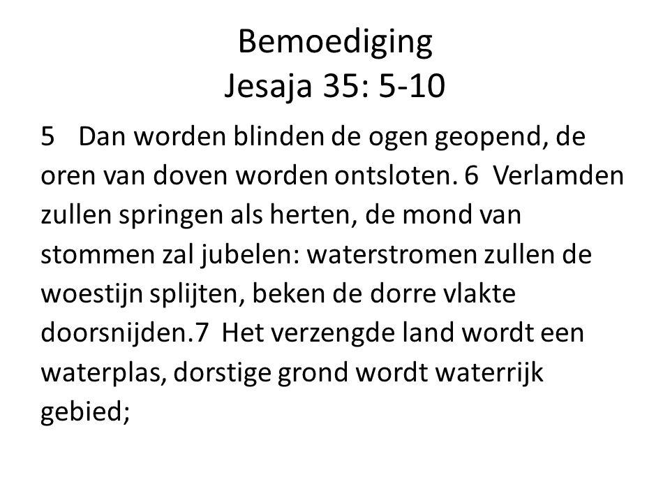 Bemoediging Jesaja 35: 5-10 Dan worden blinden de ogen geopend, de