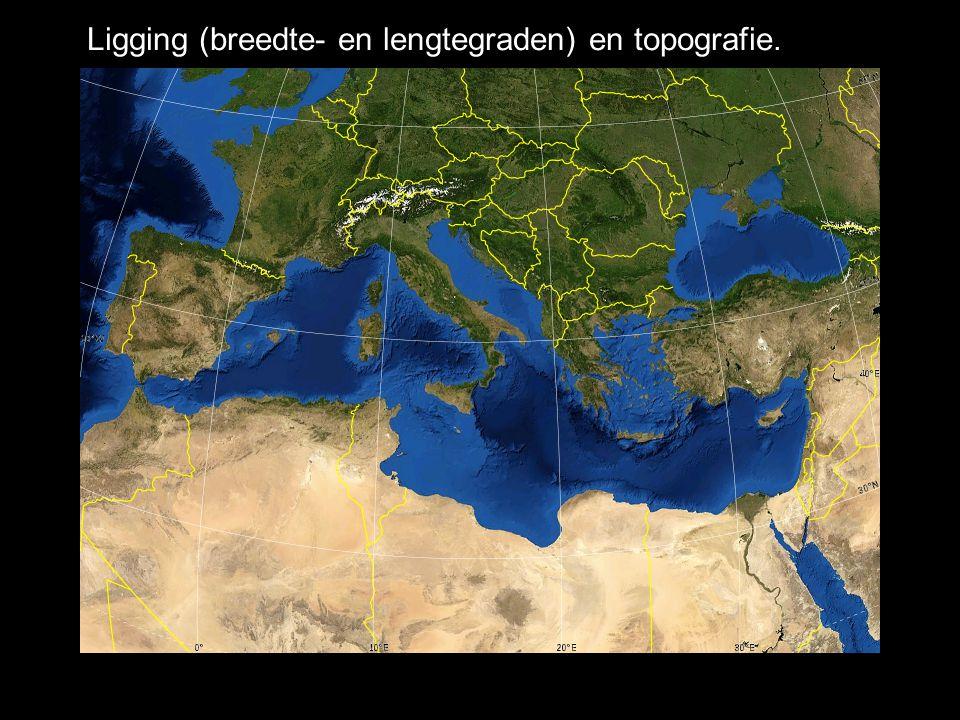 Ligging (breedte- en lengtegraden) en topografie.