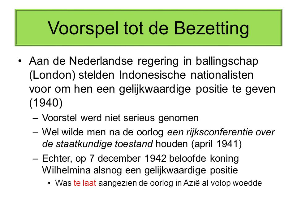 Voorspel tot de Bezetting