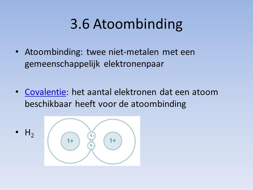 3.6 Atoombinding Atoombinding: twee niet-metalen met een gemeenschappelijk elektronenpaar.