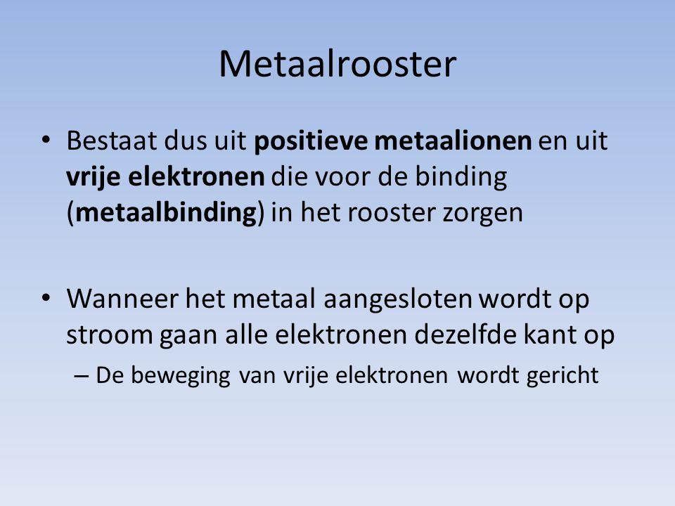 Metaalrooster Bestaat dus uit positieve metaalionen en uit vrije elektronen die voor de binding (metaalbinding) in het rooster zorgen.