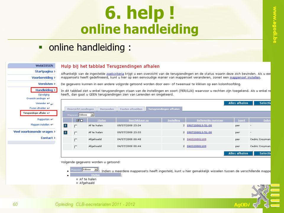6. help ! online handleiding