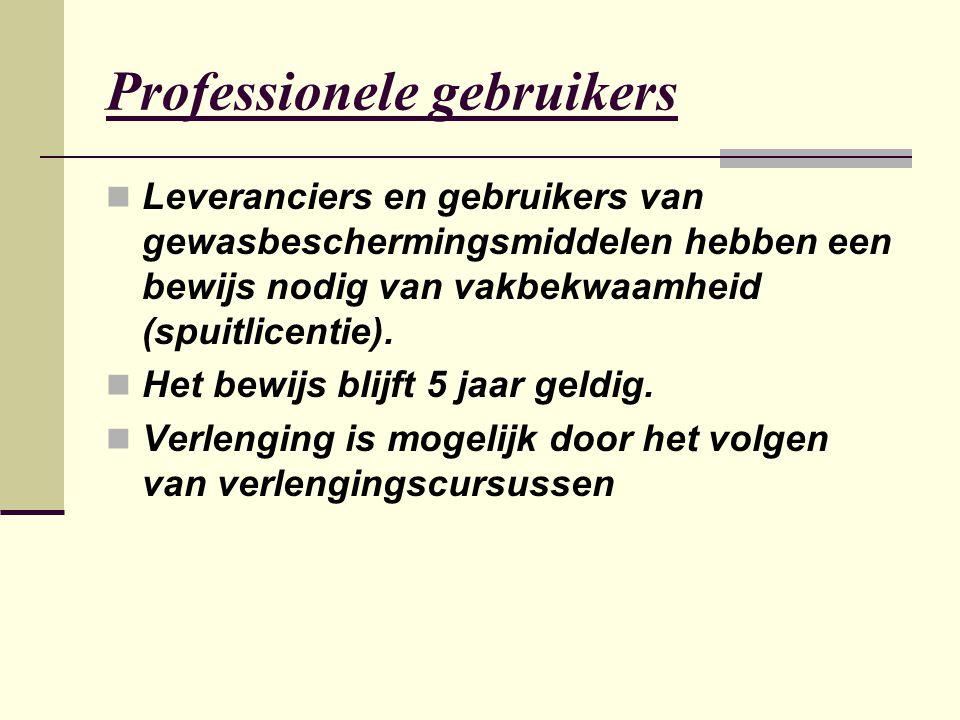 Professionele gebruikers