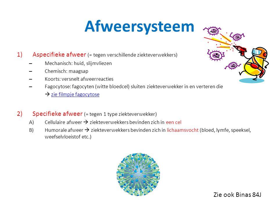 Afweersysteem Aspecifieke afweer (= tegen verschillende ziekteverwekkers) Mechanisch: huid, slijmvliezen.