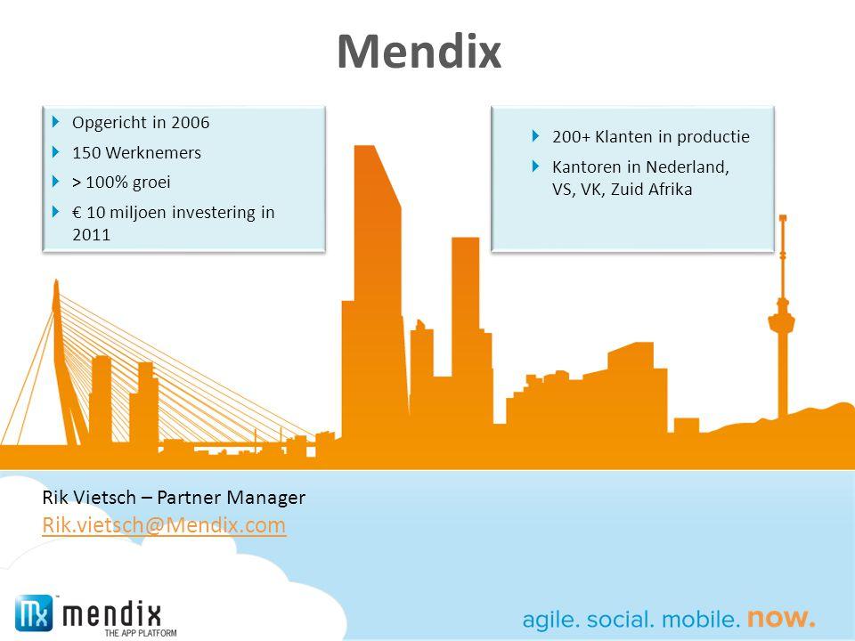 Mendix Rik.vietsch@Mendix.com Rik Vietsch – Partner Manager