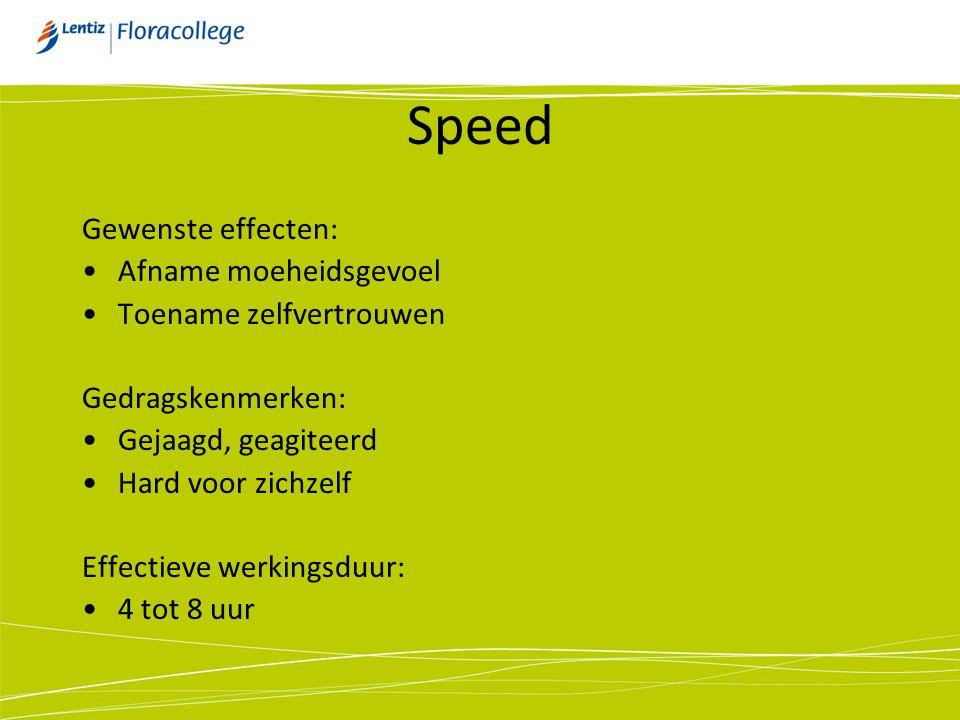 Speed Gewenste effecten: Afname moeheidsgevoel Toename zelfvertrouwen