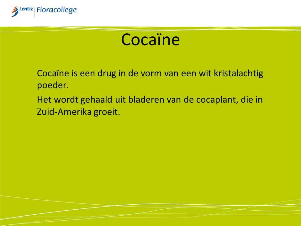 Cocaïne Cocaïne is een drug in de vorm van een wit kristalachtig poeder.