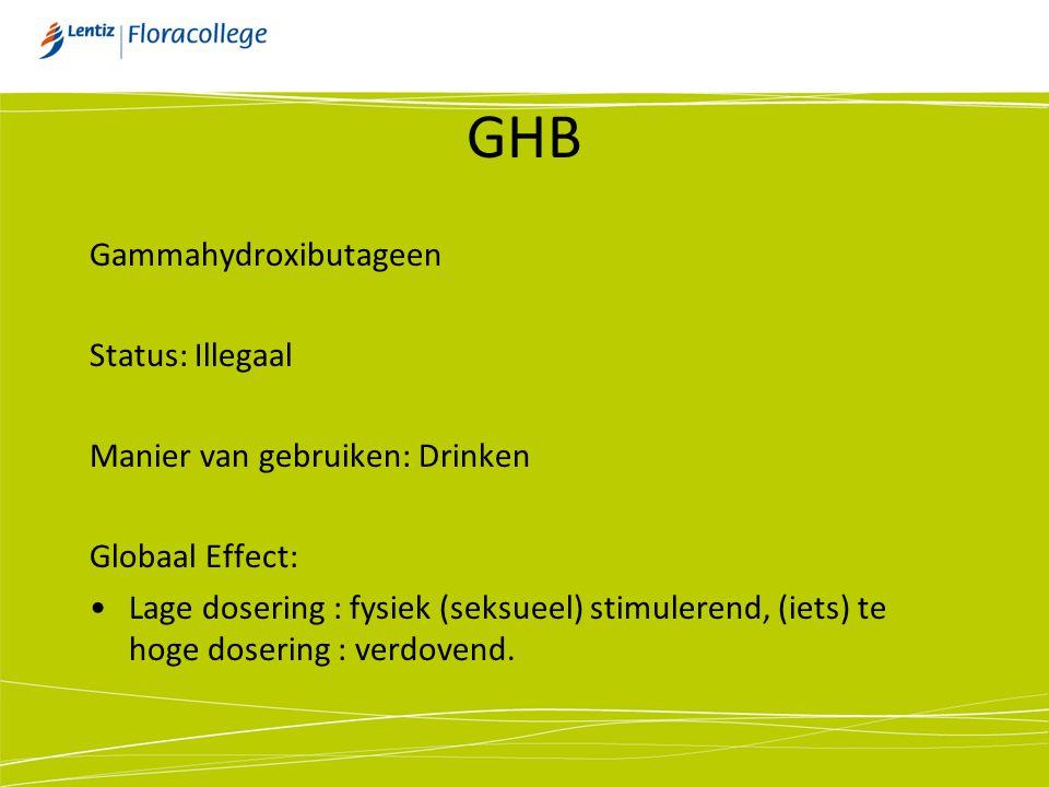 GHB Gammahydroxibutageen Status: Illegaal