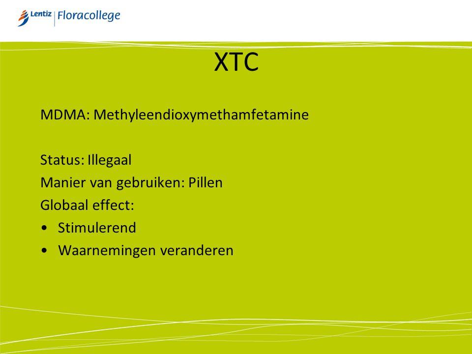 XTC MDMA: Methyleendioxymethamfetamine Status: Illegaal