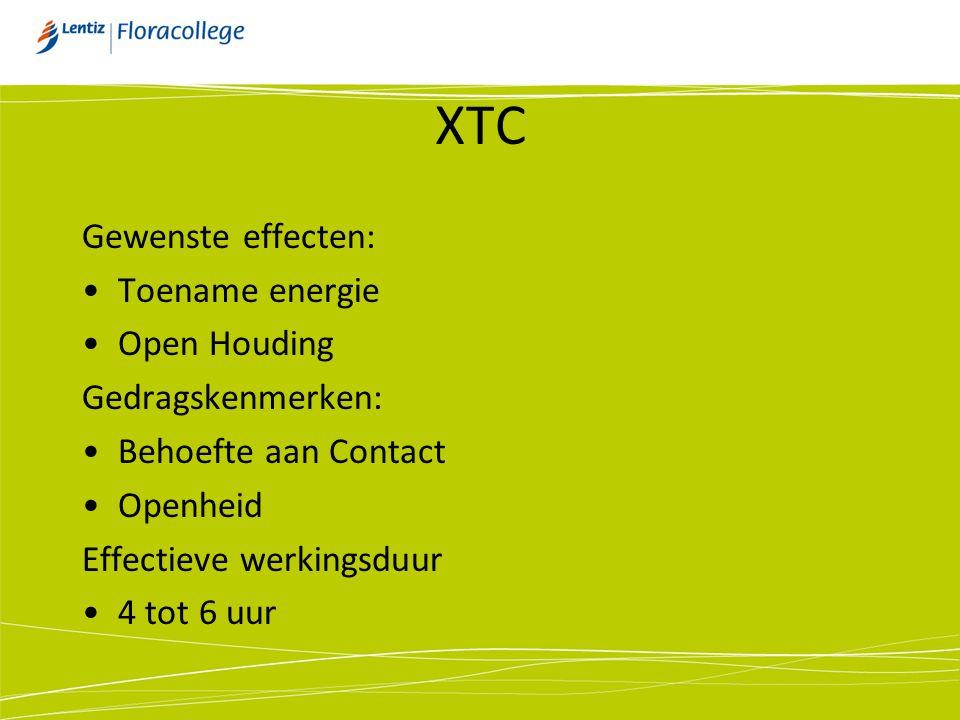 XTC Gewenste effecten: Toename energie Open Houding Gedragskenmerken:
