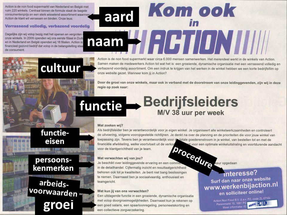 aard naam functie groei cultuur procedure functie- eisen persoons-