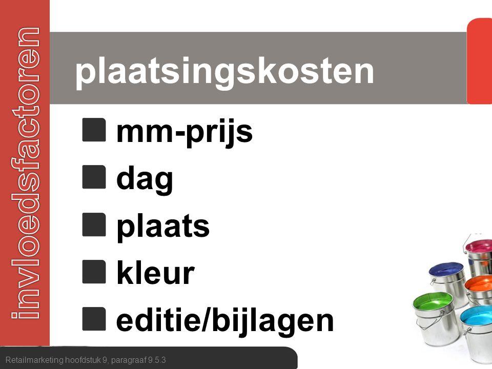 plaatsingskosten invloedsfactoren mm-prijs dag plaats kleur