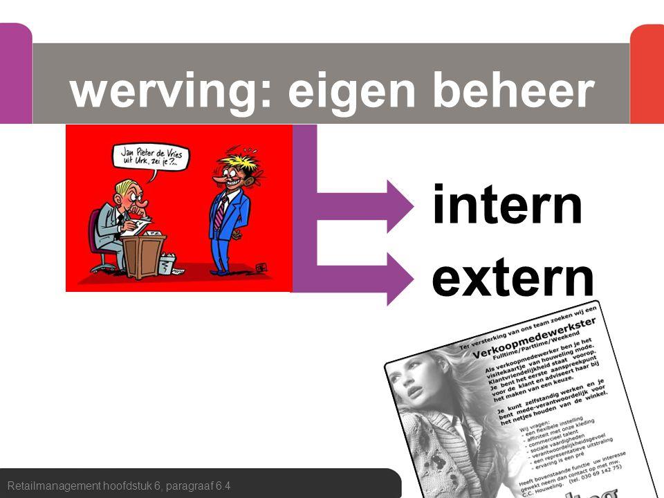 intern extern werving: eigen beheer