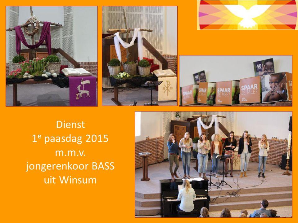 Dienst 1e paasdag 2015 m.m.v. jongerenkoor BASS uit Winsum