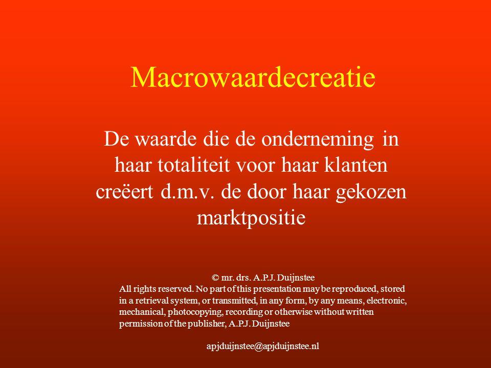 Macrowaardecreatie De waarde die de onderneming in haar totaliteit voor haar klanten creëert d.m.v. de door haar gekozen marktpositie.