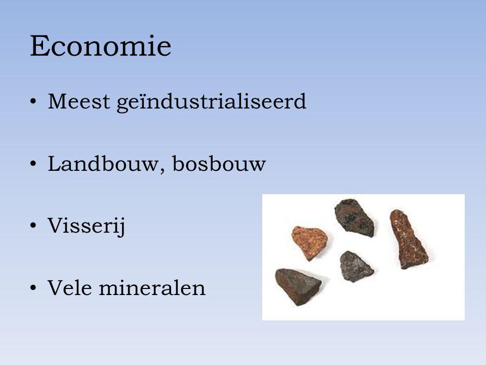 Economie Meest geïndustrialiseerd Landbouw, bosbouw Visserij