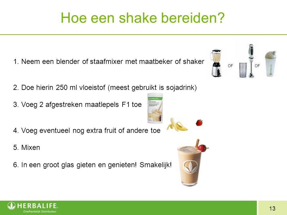 Hoe een shake bereiden 1. Neem een blender of staafmixer met maatbeker of shaker. 2. Doe hierin 250 ml vloeistof (meest gebruikt is sojadrink)