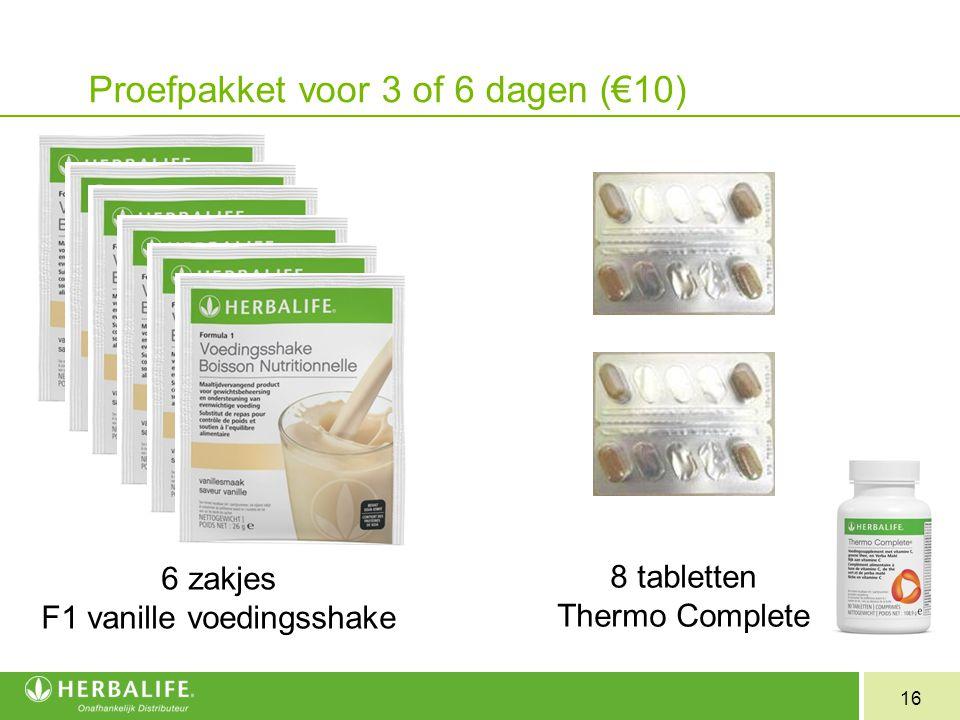 Proefpakket voor 3 of 6 dagen (€10)