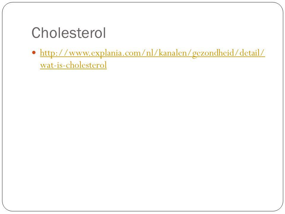 Cholesterol http://www.explania.com/nl/kanalen/gezondheid/detail/ wat-is-cholesterol