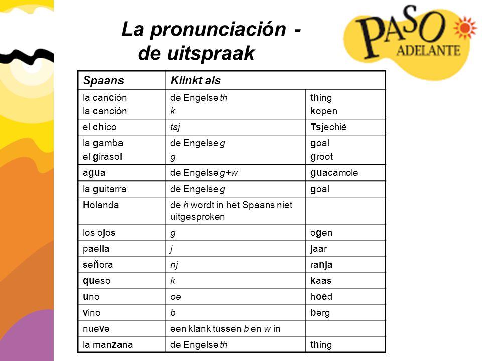 La pronunciación - de uitspraak Spaans Klinkt als la canción