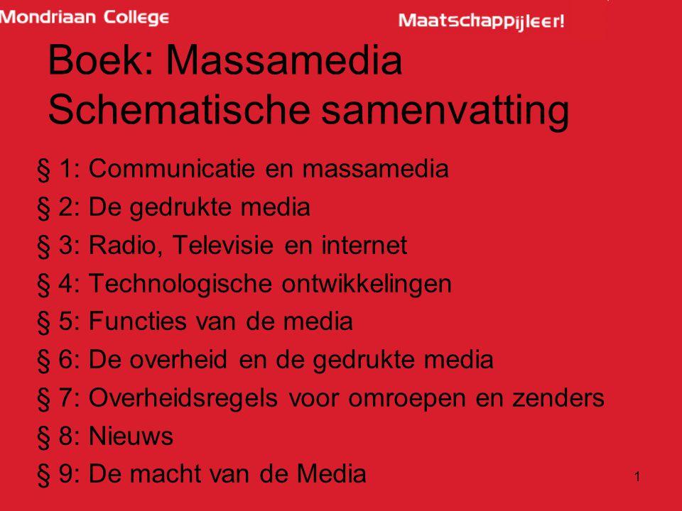 Boek: Massamedia Schematische samenvatting