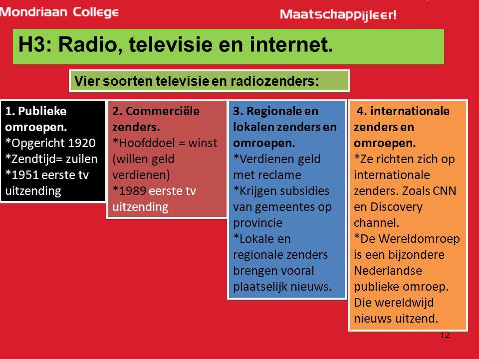 H3: Radio, televisie en internet.