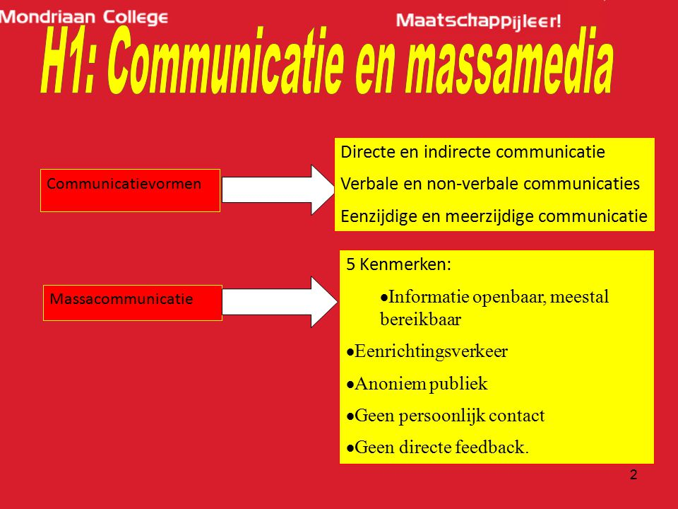 H1: Communicatie en massamedia