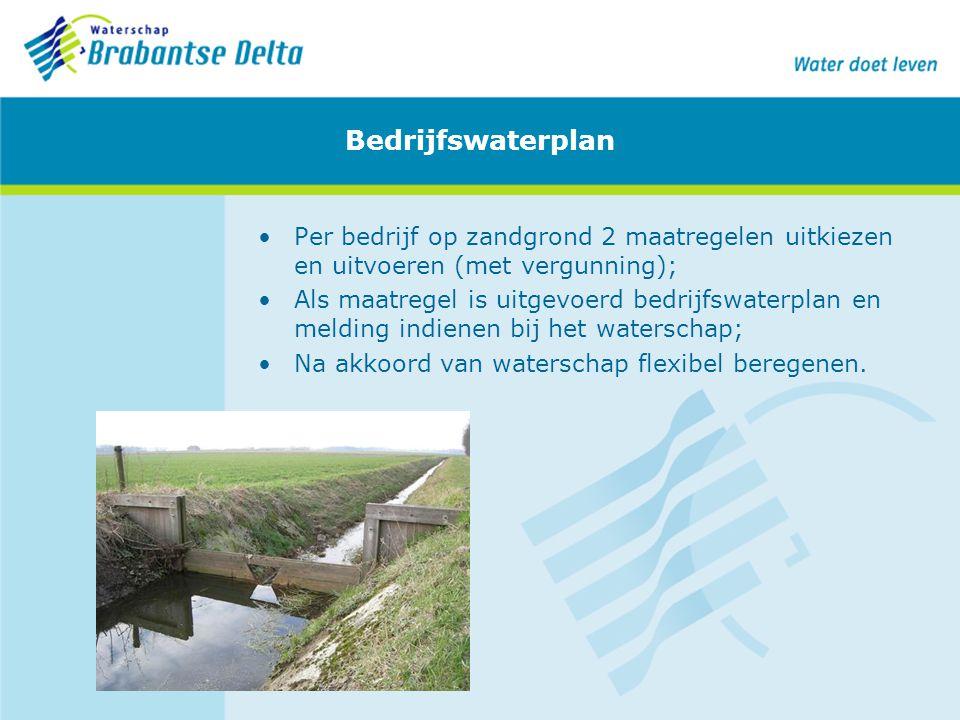 Bedrijfswaterplan Per bedrijf op zandgrond 2 maatregelen uitkiezen en uitvoeren (met vergunning);