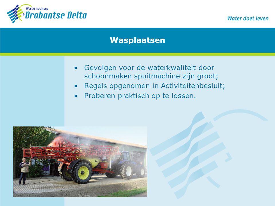 Wasplaatsen Gevolgen voor de waterkwaliteit door schoonmaken spuitmachine zijn groot; Regels opgenomen in Activiteitenbesluit;