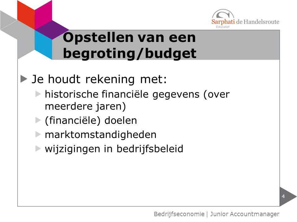 Opstellen van een begroting/budget