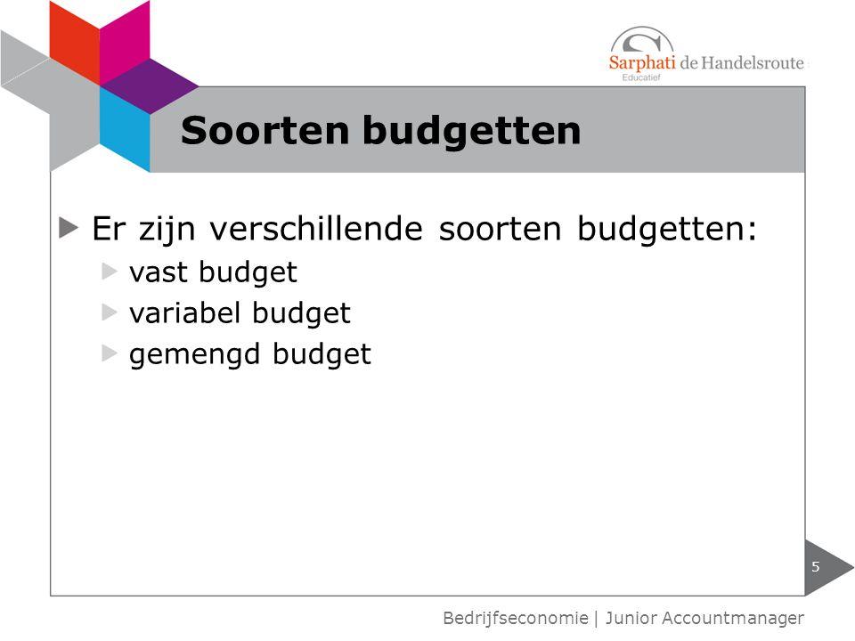 Soorten budgetten Er zijn verschillende soorten budgetten: vast budget