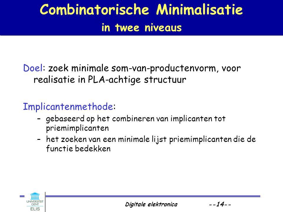 Combinatorische Minimalisatie in twee niveaus