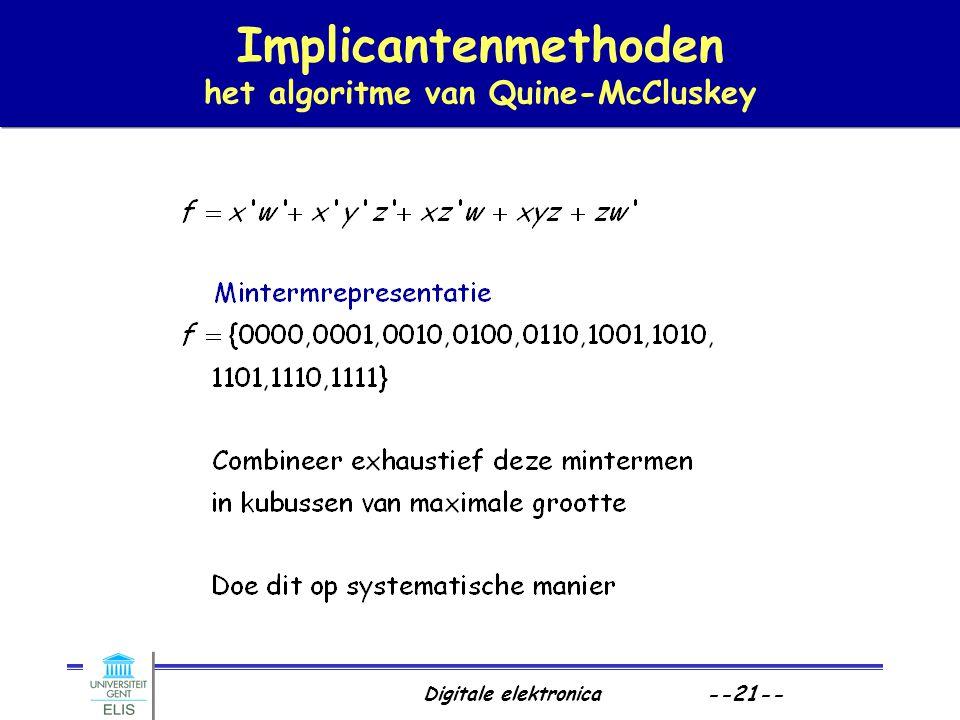 Implicantenmethoden het algoritme van Quine-McCluskey
