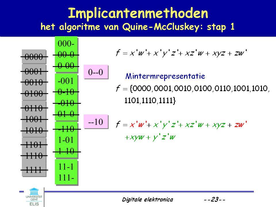 Implicantenmethoden het algoritme van Quine-McCluskey: stap 1