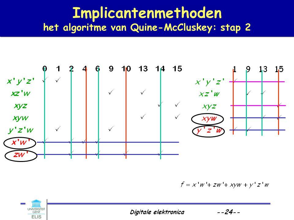 Implicantenmethoden het algoritme van Quine-McCluskey: stap 2